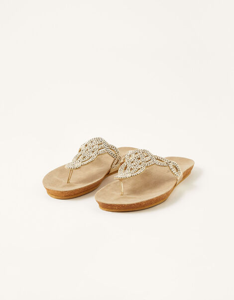 Beaded Toe-Post Sandals Gold, Gold (GOLD), large