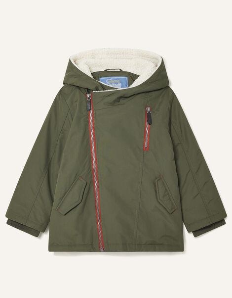 Asymmetric Zip Hooded Parka Green, Green (KHAKI), large