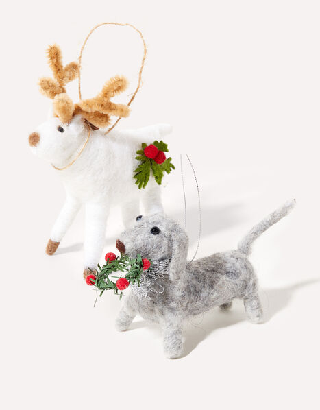 Reindeer and Dog Hanging Decoration Twinset, , large
