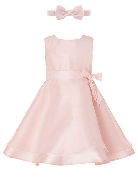 Baby Organza Dress and Bando Set Pink, Pink (DUSKY PINK), large