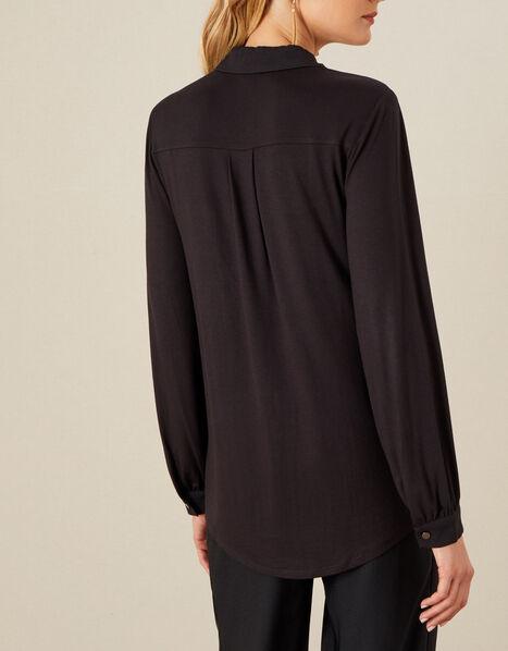 Woven-Jersey Mix Longline Shirt Black, Black (BLACK), large