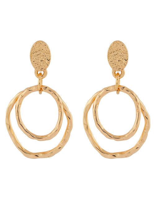 Double Layered Hoop Drop Earrings, , large