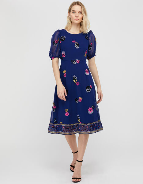 April Floral Embroidery Tea Dress Blue, Blue (BLUE), large