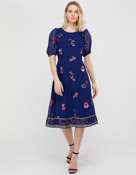 April Floral Embroidery Tea Dress Blue, Blue (BLUE), large