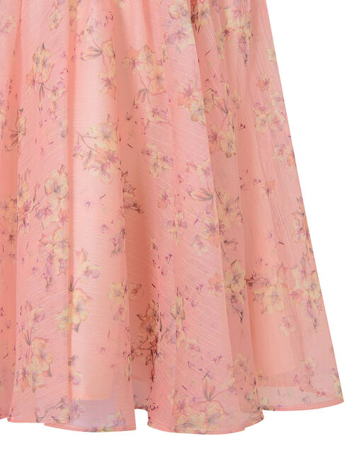 Baby Floral Pleated Chiffon Dress, Pink (PALE PINK), large