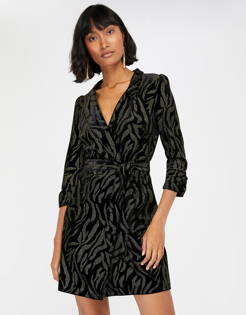 Nadia Nailhead Velvet Blazer Dress, Black, large