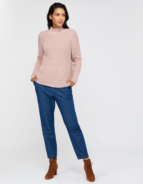 Rose Knit Jumper , Pink, large