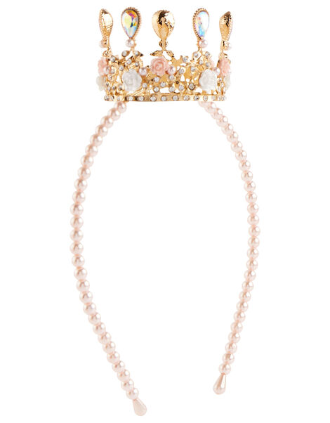 Pearl Teardrop Crown Headband , , large