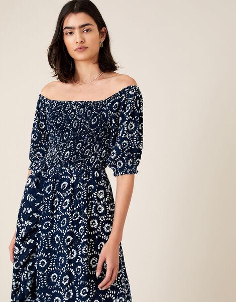 ARTISAN STUDIO Esha Printed Dress Blue, Blue (NAVY), large