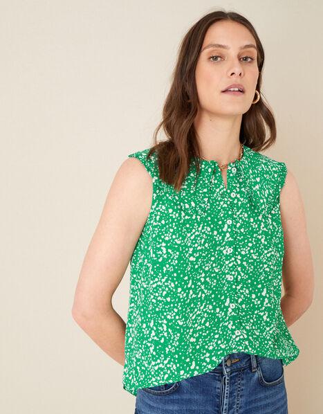 Leila Print Collar Sleeveless Top Green, Green (GREEN), large