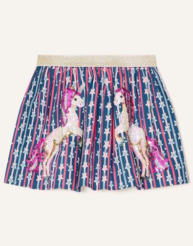 Sequin Unicorn Star Print Skirt Blue, Blue (NAVY), large