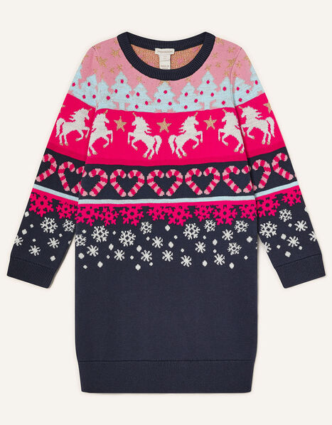 Unicorn Fair Isle Knit Dress Red, Red (RED), large