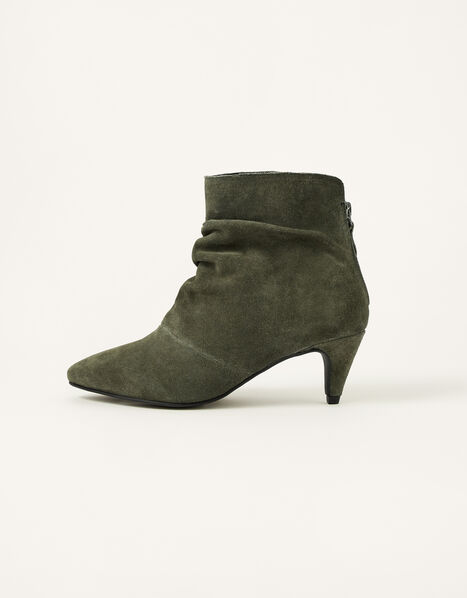 Slouch Suede Kitten Boots Green, Green (KHAKI), large