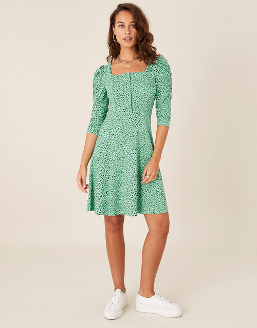 Printed Square Neck Jersey Dress, Green (GREEN), large