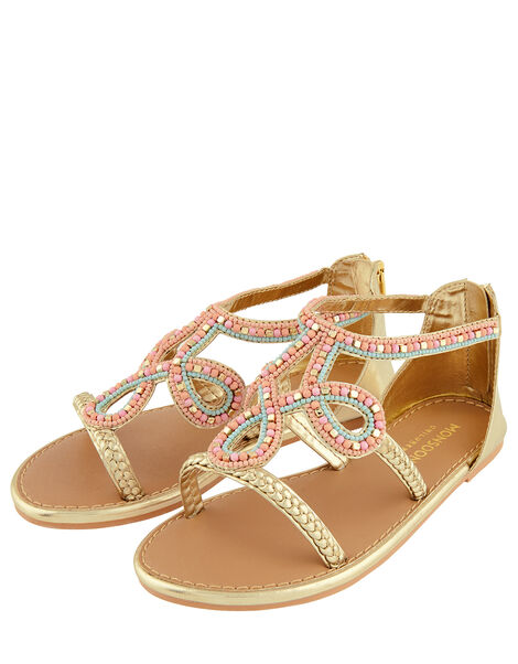 Beaded Plait Strap Sandals Gold, Gold (GOLD), large