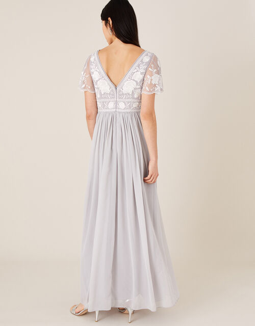 Daphnee Embroidered Maxi Dress, Grey (GREY), large