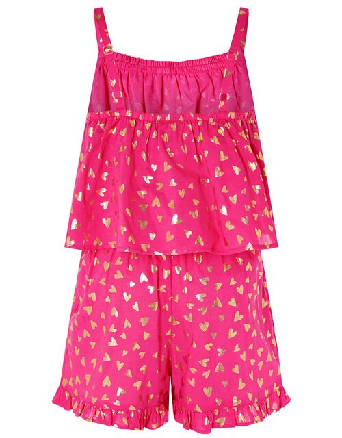 Foil Heart Print Frill Playsuit, Pink (PINK), large