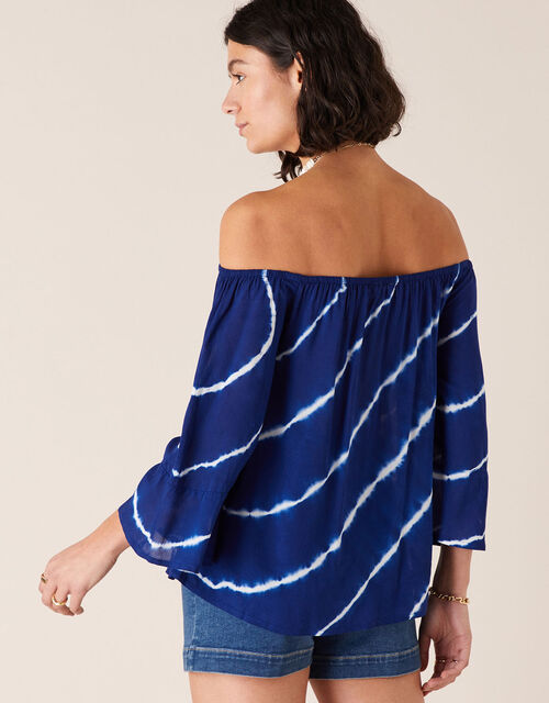 Tie-Dye Off-Shoulder Top in LENZING™ ECOVERO™, Blue (BLUE), large