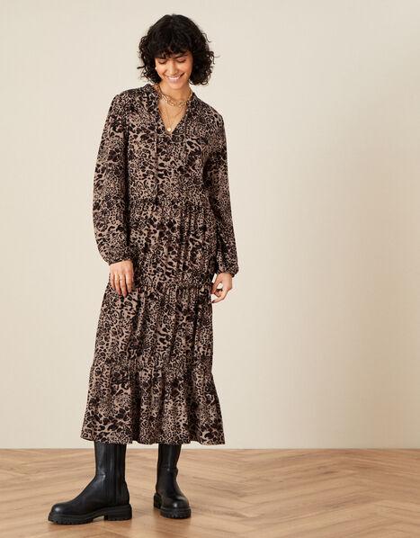 Animal Print Midi Dress in LENZING™ ECOVERO™  Brown, Brown (BROWN), large