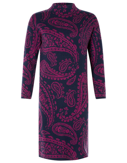 Paisley Jacquard Knit Dress, Blue (NAVY), large