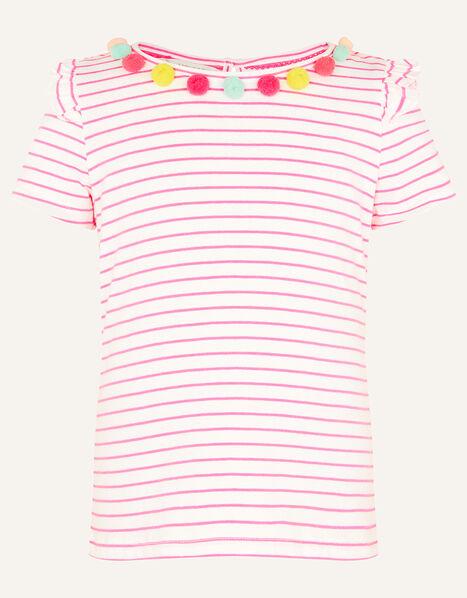 Fiesta Stripe Pom-Pom Top Pink, Pink (BRIGHT PINK), large