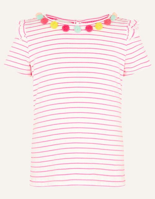 Fiesta Stripe Pom-Pom Top, Pink (BRIGHT PINK), large