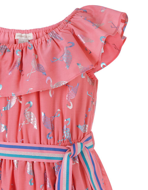 Flamingo Foil Frill Dress, Orange (CORAL), large