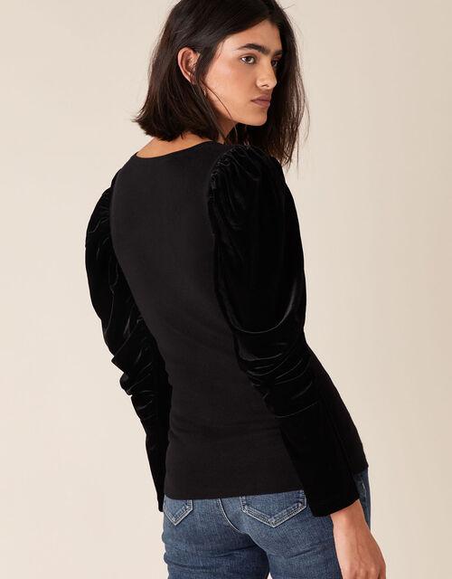 Velvet Sleeve Jumper, Black (BLACK), large