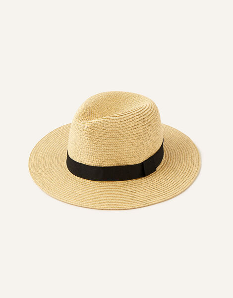 Band Trim Fedora Hat  Natural, Natural (NATURAL), large