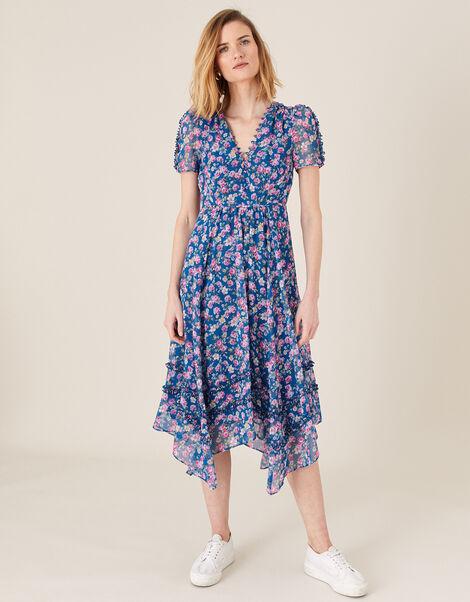 Rebecca Floral Chiffon Dress Blue, Blue (BLUE), large