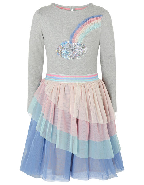 Rainbow Sequin Long-Sleeve Disco Dress Grey, Grey (GREY), large