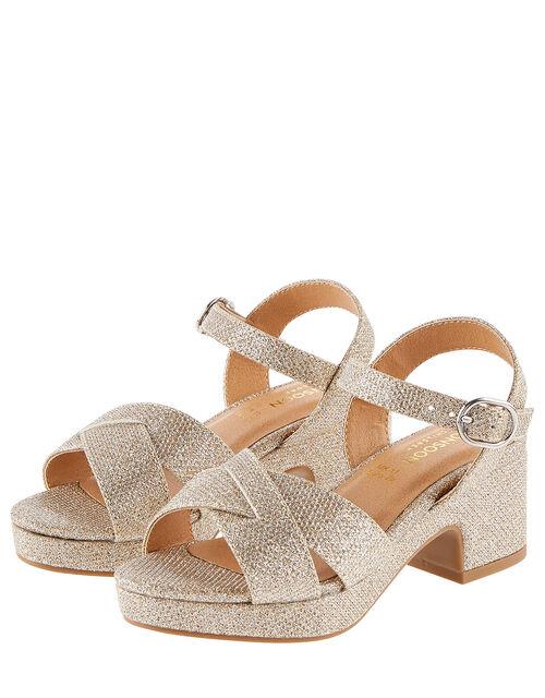 Shimmer Platform Sandals, Gold (GOLD), large