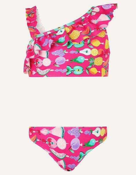 Fruit Print One-Shoulder Bikini Set Pink, Pink (PINK), large