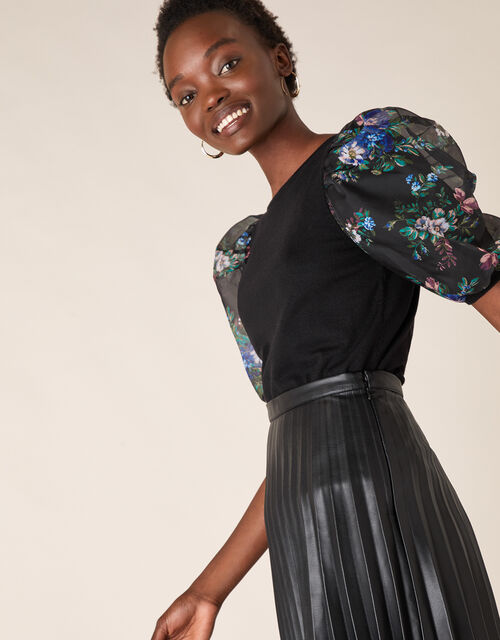 Floral Organza Sleeve Top with Recycled Fabric, Black (BLACK), large