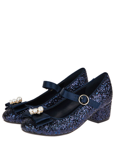 Embellished Bow Glitter Heeled Shoes Blue, Blue (NAVY), large