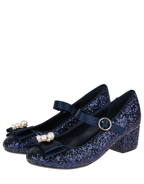 Embellished Bow Glitter Heeled Shoes, Blue (NAVY), large