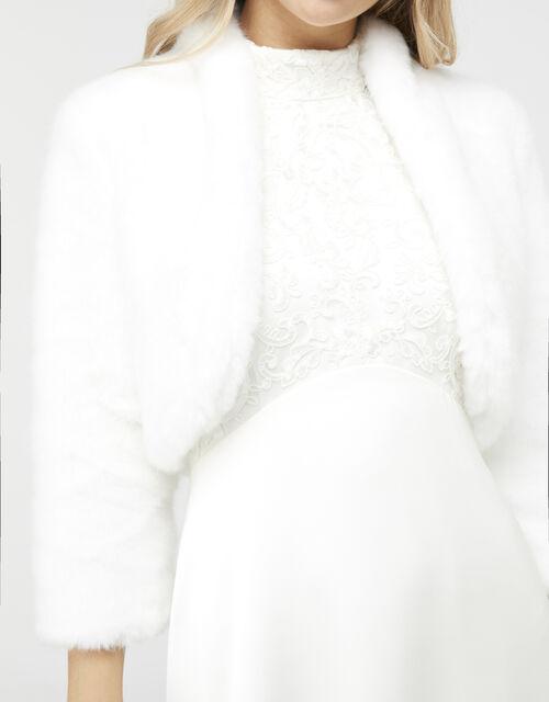 Maria Faux Fur Bridal Jacket, Ivory (IVORY), large