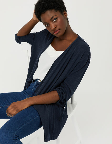 Callie Waterfall Cardigan in Linen Blend Blue, Blue (NAVY), large