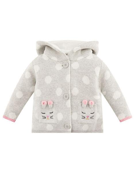 Newborn Baby Bunny Spot Cardigan Grey, Grey (GREY), large