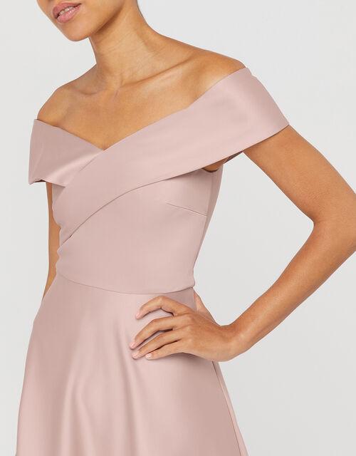 Sigourney Satin Midi Dress, Blush, large