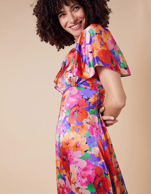 Lina Floral Satin Midi Dress, Pink (PINK), large