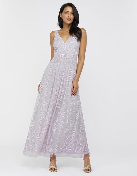 Lavinia Embroidered Maxi Dress Purple, Purple (PURPLE), large