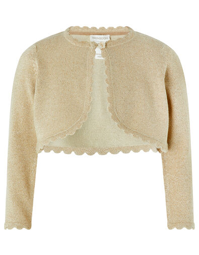 Baby Niamh Cropped Sparkle Knitted Cardigan Gold, Gold (GOLD), large