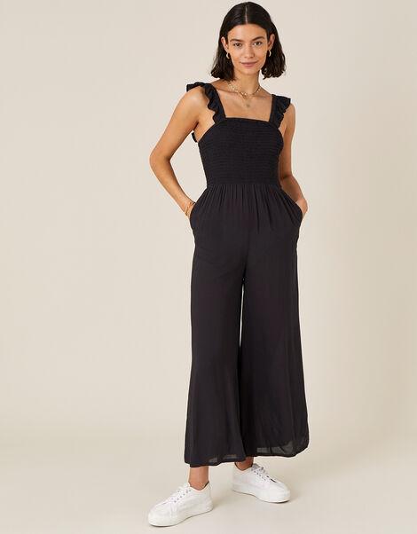 Ruffle Strap Wide Leg Jumpsuit Black, Black (BLACK), large