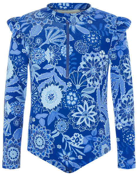 Flower Print Sunsafe Swimsuit Blue, Blue (BLUE), large