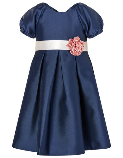 Baby Corsage Belt Duchess Twill Dress Blue, Blue (NAVY), large