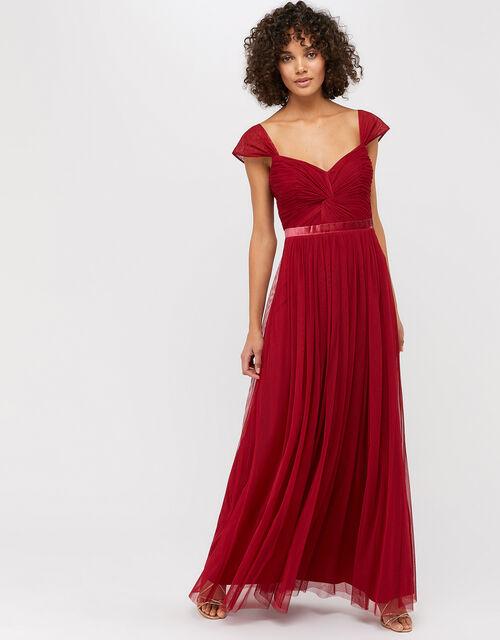Jennifer Ruched Mesh Maxi Dress, Red, large