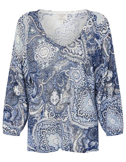 Paisley Print Jumper in Linen Blend, Blue (NAVY), large