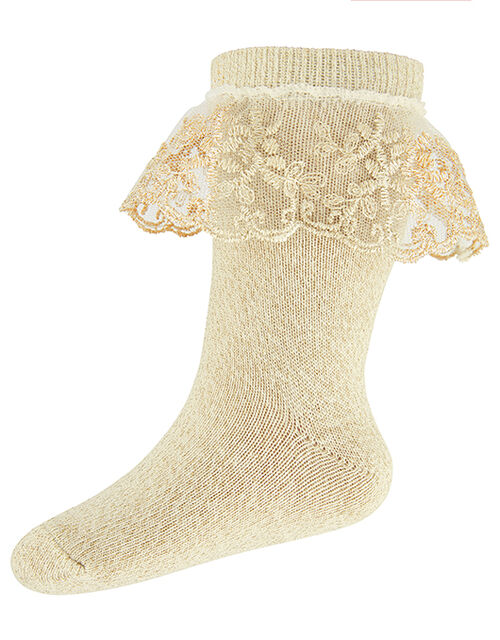 Baby Flower Scallop Lace Ankle Socks, Gold (GOLD), large