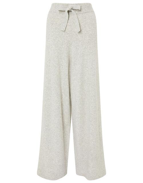 Wide-Leg Knit Lounge Trousers , Grey (GREY), large